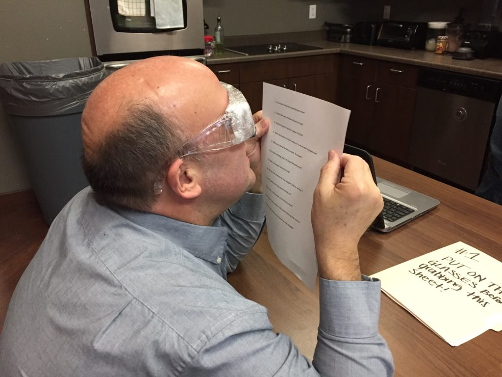 Ed competes in the vision test.