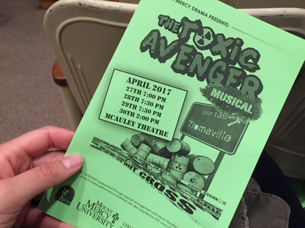 The Toxic Avenger stared Jackson Bartelme, Elizabeth Wareham, Randi Tumilty, Marlon Flores-Paniagua, and Nathan Merrifield.